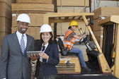 Happy multiethnic engineers — Stock Photo
