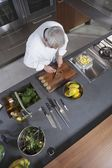 Mid- adult chef working  overview — Stock Photo