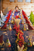 Bored girl at birthday table — Stock Photo