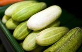 Cucumbers in supermarket — Stock Photo