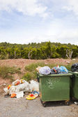 Overflowing bins next to Orange Orchard — Stock Photo