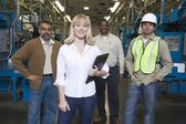 People working in newspaper factory — Stock Photo