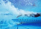 Female swimmers swimming — Stock Photo