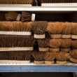 Stacked brushes in supermarket — Stock Photo