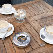 Coffee Cups on table in London — Stock Photo