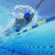 Swimmer doing backstroke — Stock Photo
