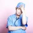 Asian surgeon looking stressed — Stock Photo #33999527