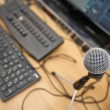 Microphone and computer keyboards — Stock Photo