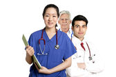 Doctors standing on white backgraund — Stock Photo