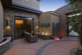 Patio furniture and lights — 图库照片