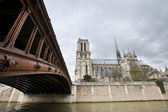 Notre Dame and Seine River — Stockfoto