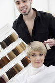 Hairdresser suggesting hair shades — Stock Photo