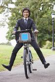 Vélo homme d'affaires — Photo