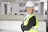 Senior woman in reflector vest — Stock Photo