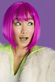 Funky woman in pink wig — Stock Photo