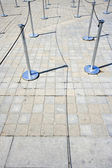 Stanchions marking out queue — Stock Photo