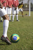 Soccer Players Preparing for a Penalty Kick — Stok fotoğraf