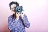 Photographer takes photo — Stock Photo