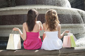 Female friends with shopping bags — Stock Photo