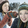 Teenage girl blows snow on her friend — Stock Photo #34005815