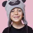 Boy wearing monkey cap — Stock Photo