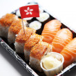 Sushi food on tray with Hong Kong flag — Stock Photo #34009197