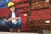 Asian female industrial worker — Stok fotoğraf