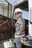 Confident female industrial worker — Stock Photo