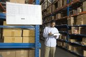 Man inspecting boxes — Stock Photo