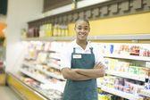 Supermarket employee — Stock Photo