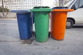 Recycling Bins in the street — Stock Photo