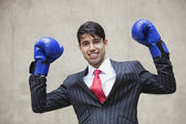 Indian businessman celebrating victor — Stock Photo