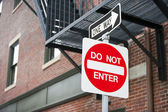 Do Not Enter and One Way sign — Stock Photo