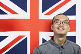 Man against British flag — Stock Photo