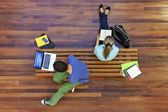University students studying from above — Stock Photo