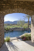 Patio arch window — 图库照片