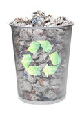 Recycling bin full of crumpled papers — Stock Photo