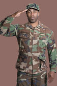 African American US Marine Corps soldier saluting — Stock Photo