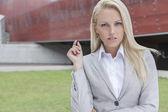 Confident businesswoman gesturing — Stock Photo