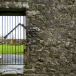 Locked gate in old stone wall — Stock Photo
