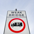 Sign saying Weak Bridge — Foto de stock #34015695
