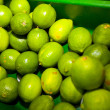 Green lemons on display — Stock Photo