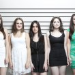 Stock Photo: Young women in police lineup