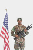 US Marine Corps soldier with M4 assault rifle — Stock Photo