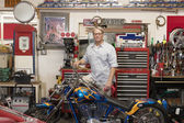 Man behind motorcycle — Stock fotografie