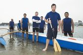 Outrigger canoeing team group portrait — Stock Photo