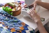 Woman making patchwork — Photo