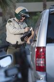 Patrol officer at window of car — Stock Photo