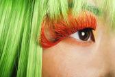 Woman's face with false eyelashes — Stock Photo