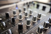 Knobs on audio console — Stock Photo